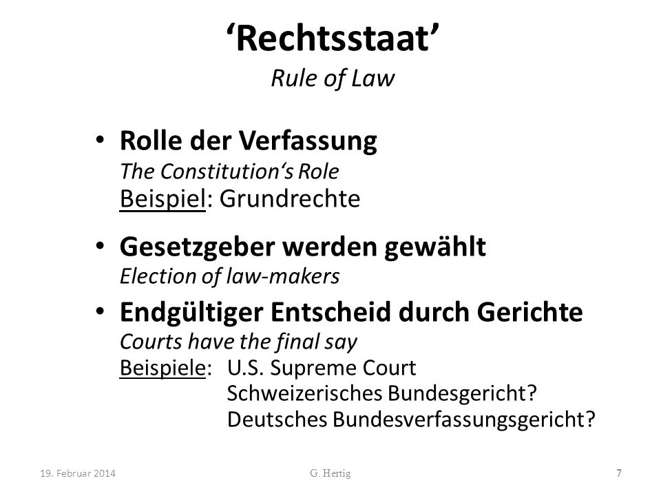 'Rechtsstaat' Rule of Law