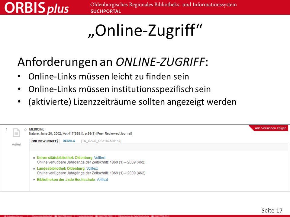 """""""Online-Zugriff Anforderungen an ONLINE-ZUGRIFF:"""