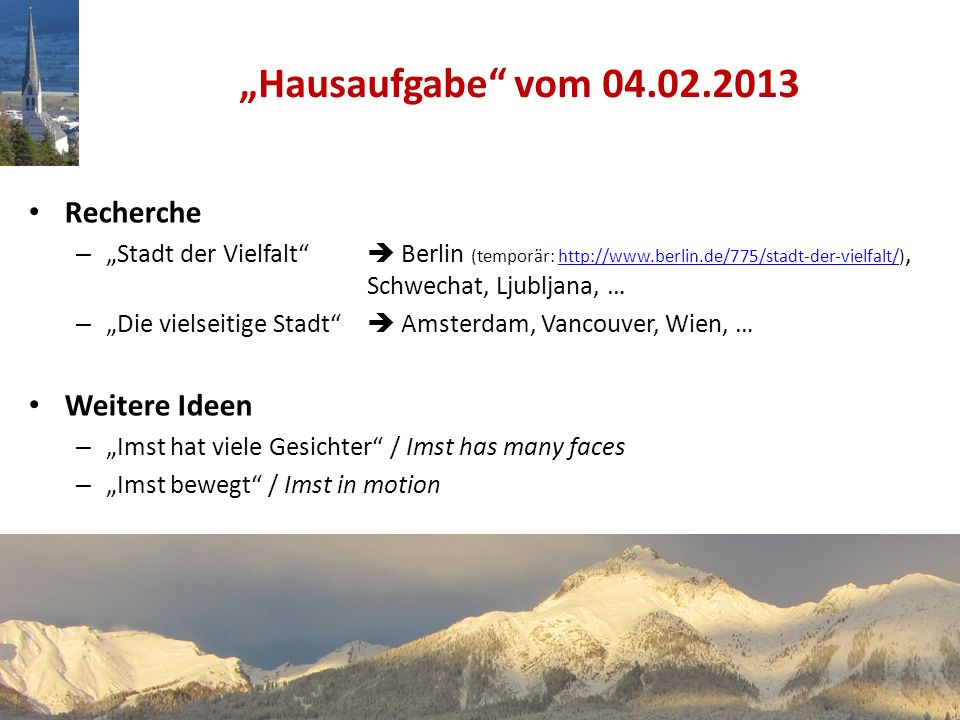 """""""Hausaufgabe vom 04.02.2013 Recherche Weitere Ideen"""