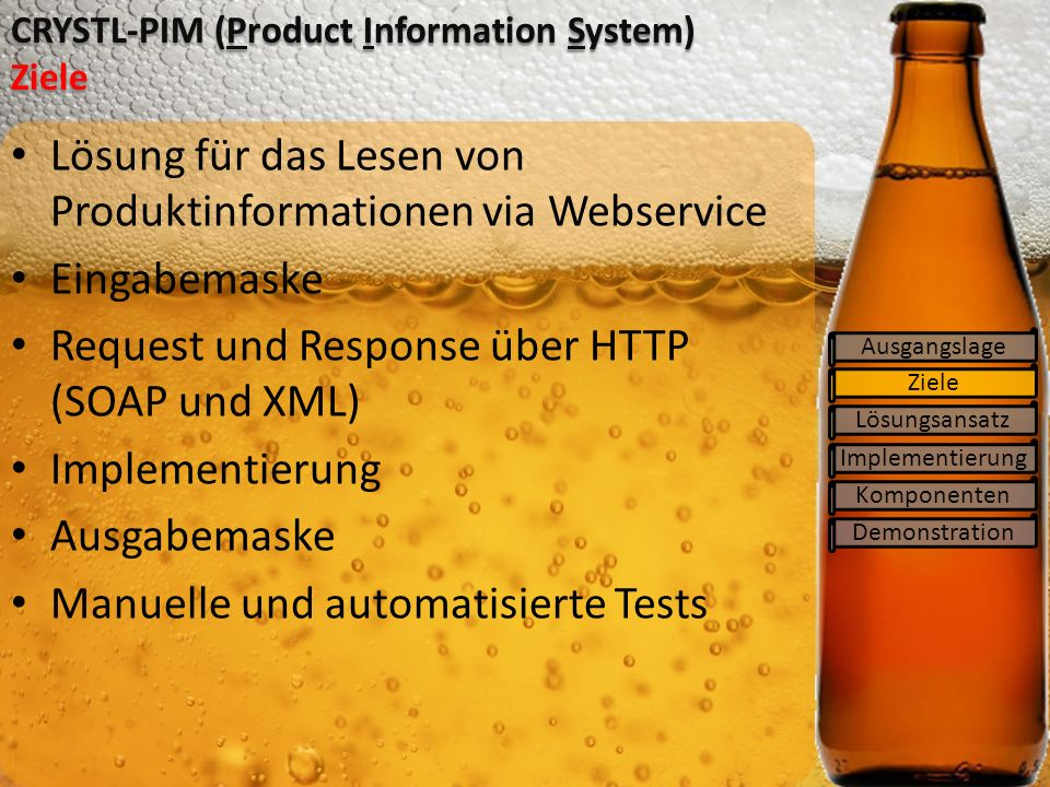 CRYSTL-PIM (Product Information System) Ziele