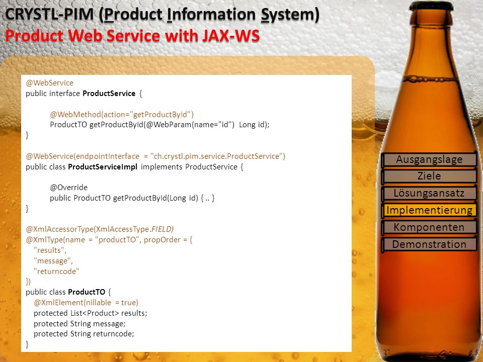 CRYSTL-PIM (Product Information System) Product Web Service with JAX-WS
