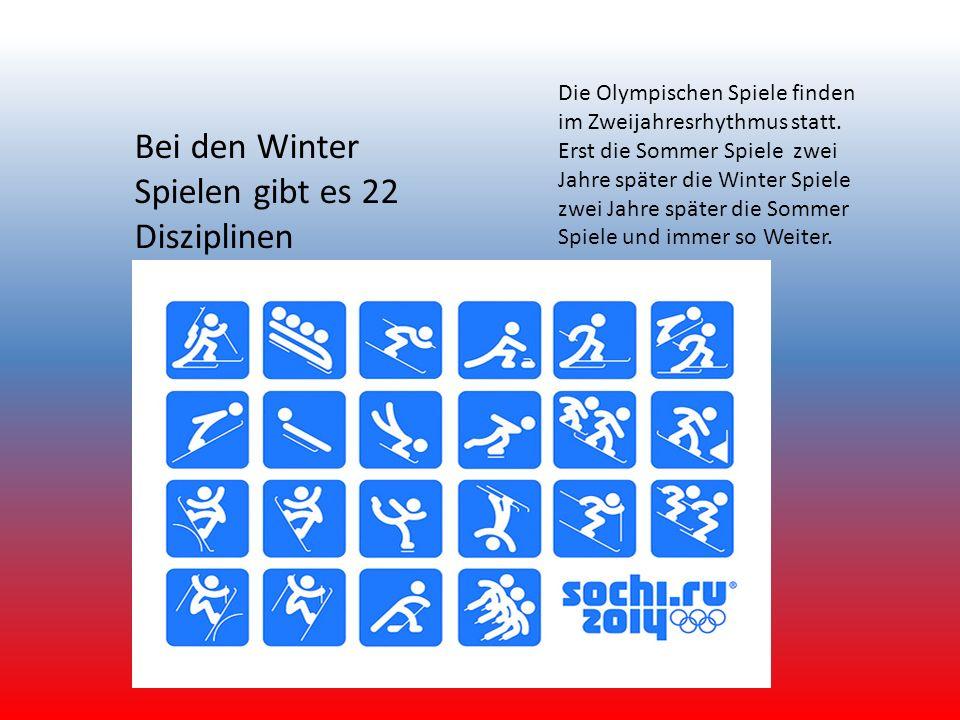 Bei den Winter Spielen gibt es 22 Disziplinen