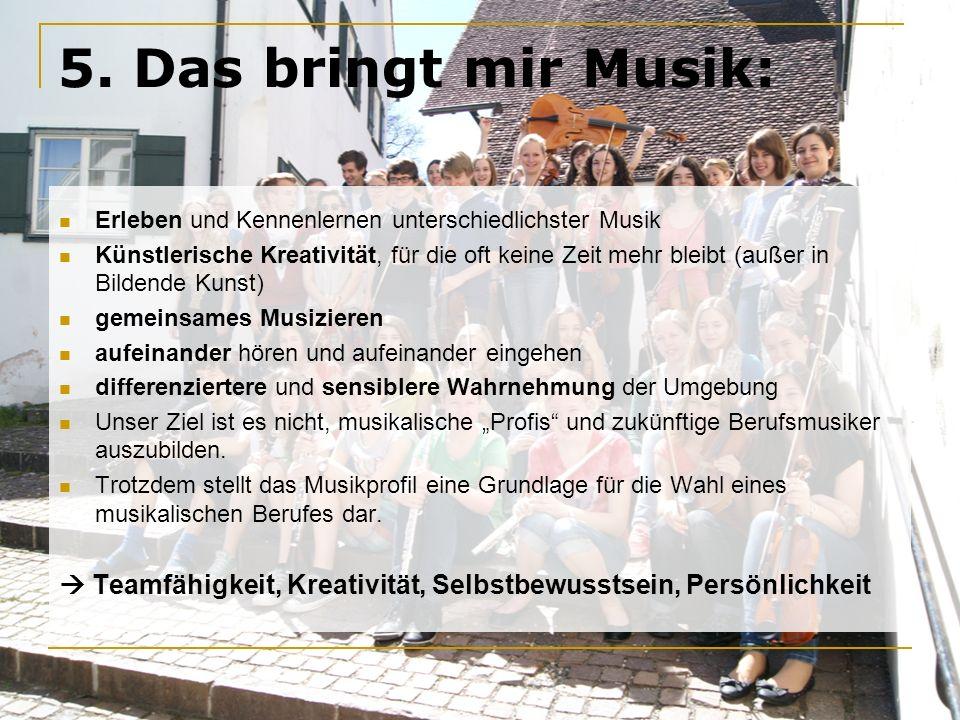 5. Das bringt mir Musik: Erleben und Kennenlernen unterschiedlichster Musik.
