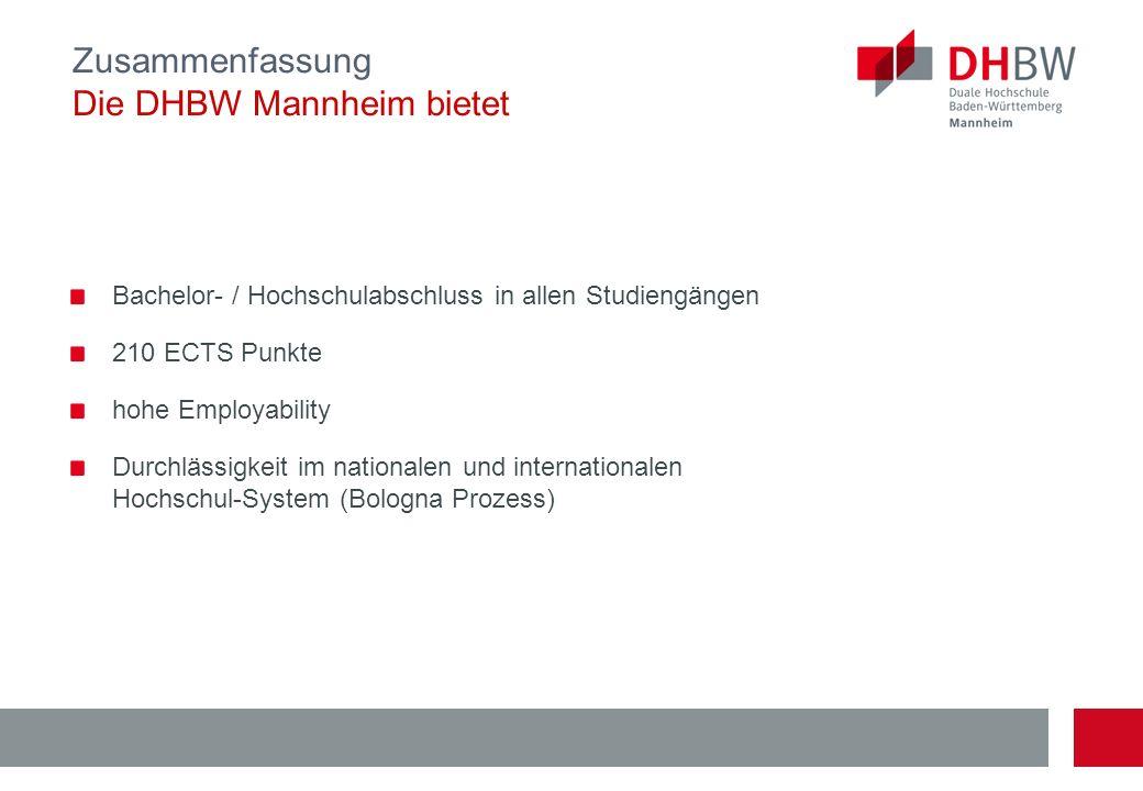 Zusammenfassung Die DHBW Mannheim bietet