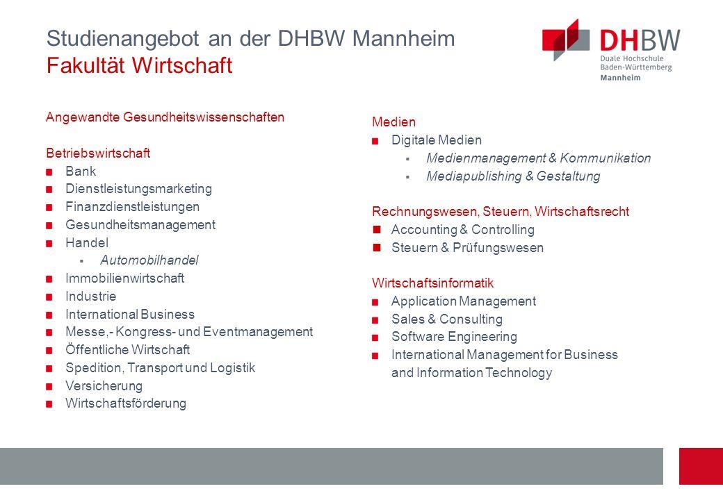 Studienangebot an der DHBW Mannheim Fakultät Wirtschaft