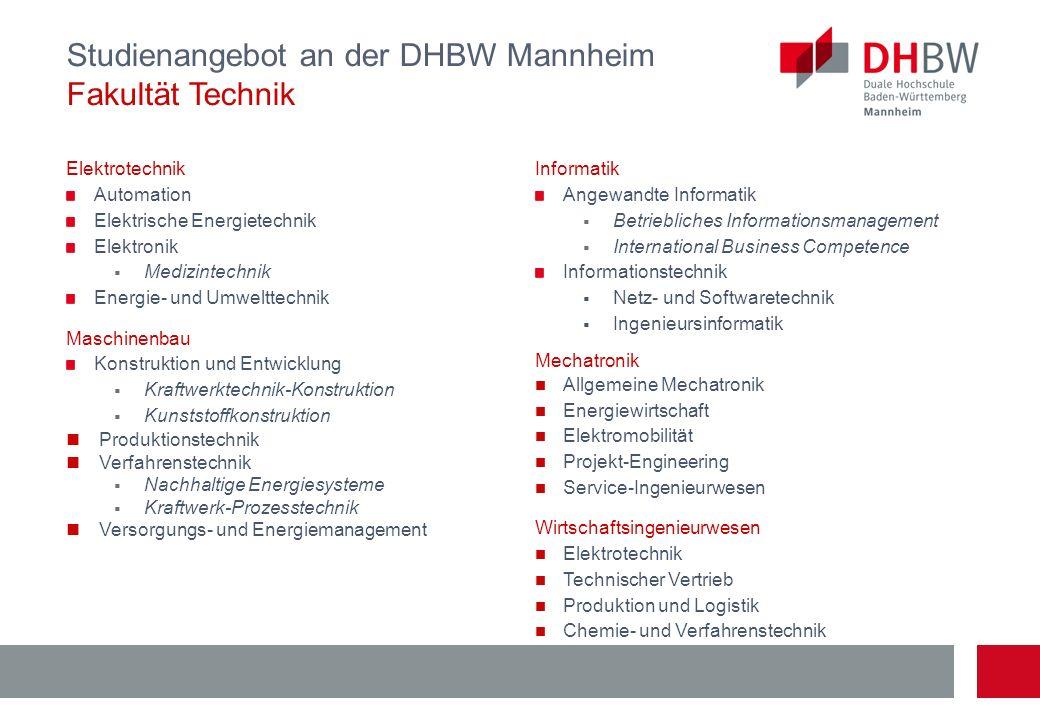 Studienangebot an der DHBW Mannheim Fakultät Technik
