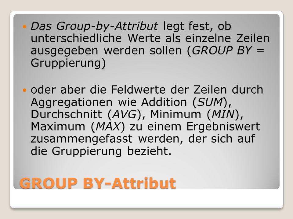 Das Group-by-Attribut legt fest, ob unterschiedliche Werte als einzelne Zeilen ausgegeben werden sollen (GROUP BY = Gruppierung)