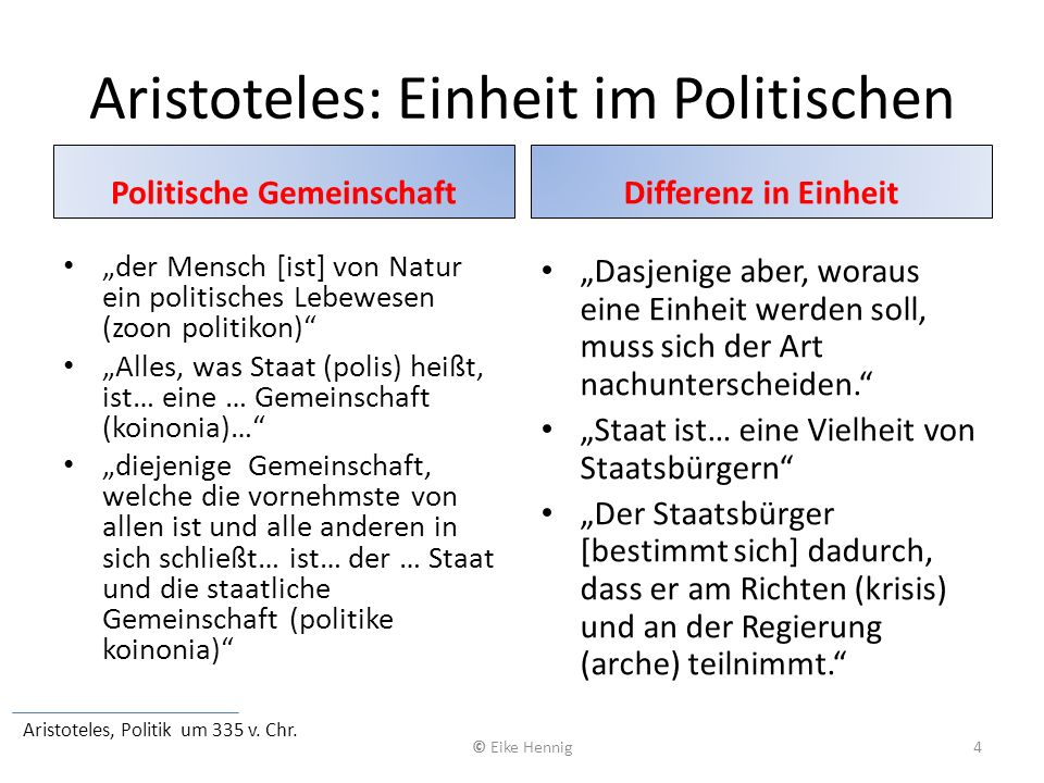 Aristoteles: Einheit im Politischen