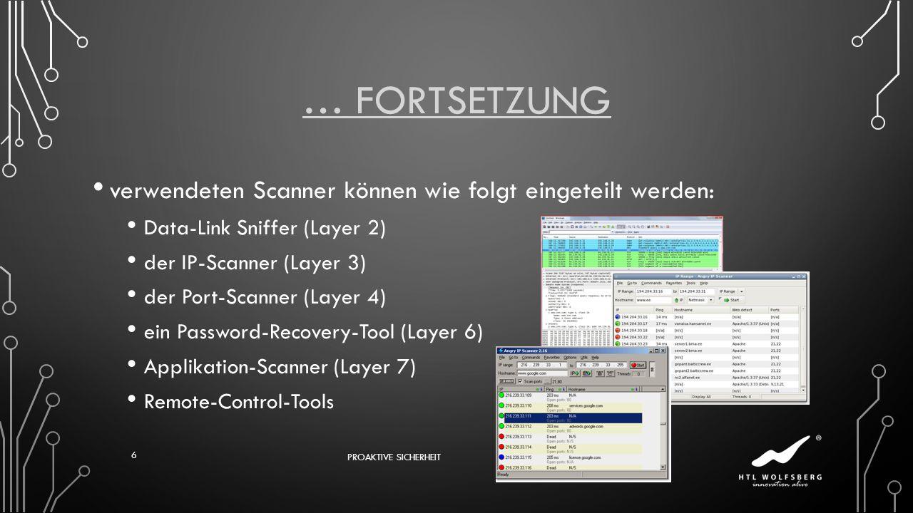 … Fortsetzung verwendeten Scanner können wie folgt eingeteilt werden: