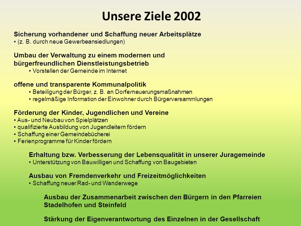 Unsere Ziele 2002 Sicherung vorhandener und Schaffung neuer Arbeitsplätze. (z. B. durch neue Gewerbeansiedlungen)