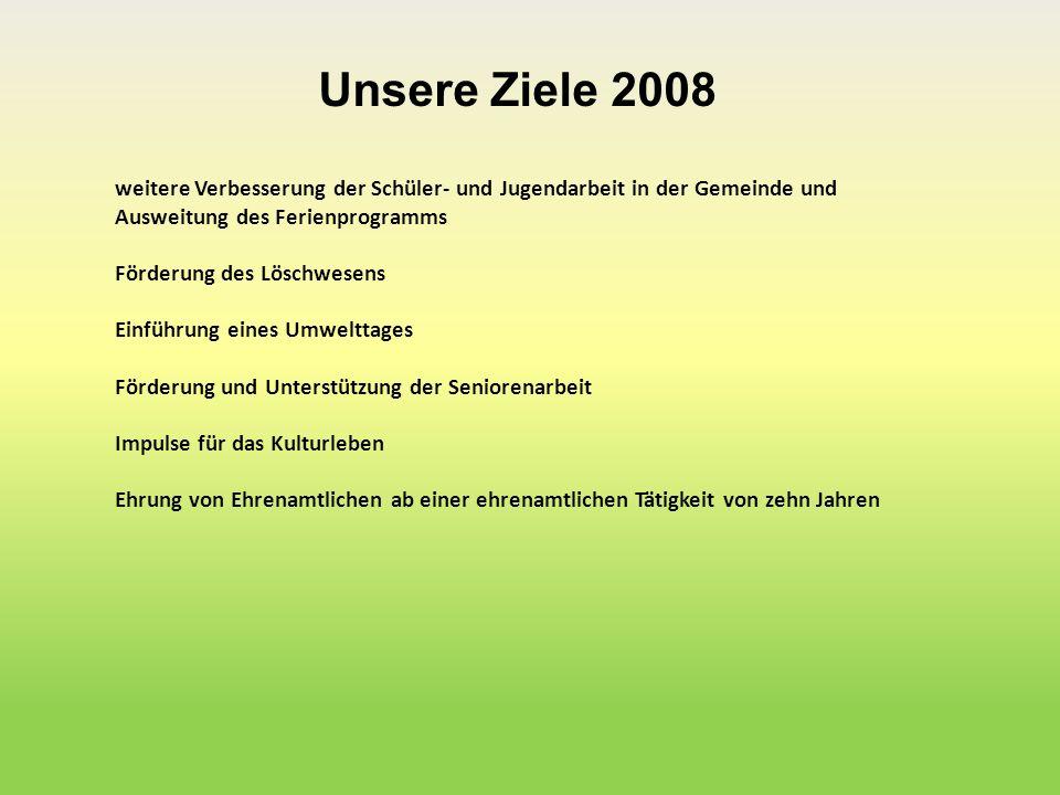 Unsere Ziele 2008 weitere Verbesserung der Schüler- und Jugendarbeit in der Gemeinde und Ausweitung des Ferienprogramms.