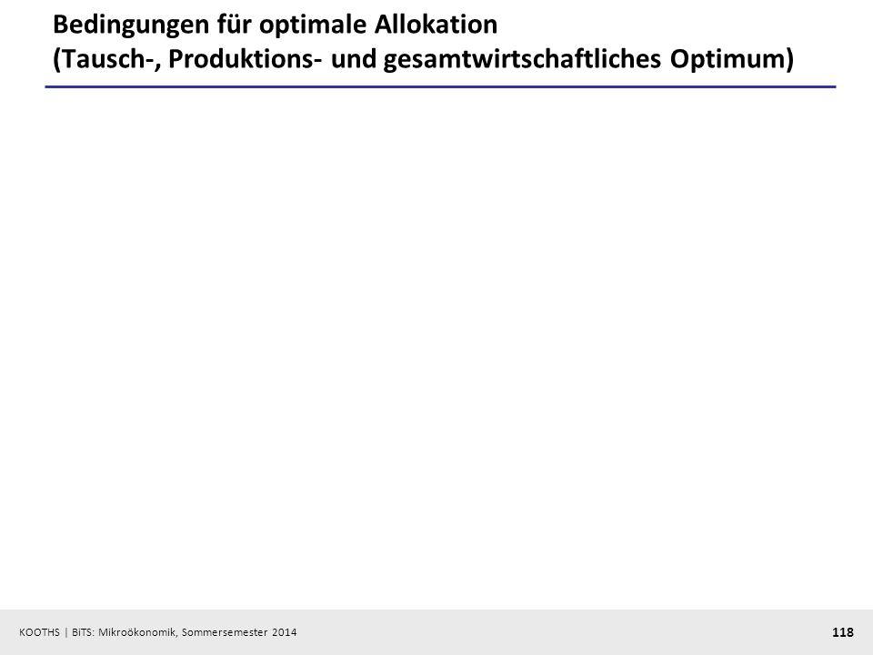 Bedingungen für optimale Allokation (Tausch-, Produktions- und gesamtwirtschaftliches Optimum)