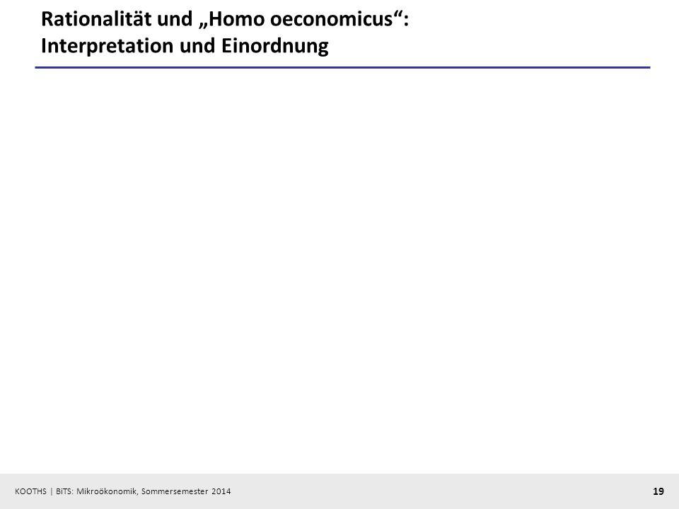 """Rationalität und """"Homo oeconomicus : Interpretation und Einordnung"""
