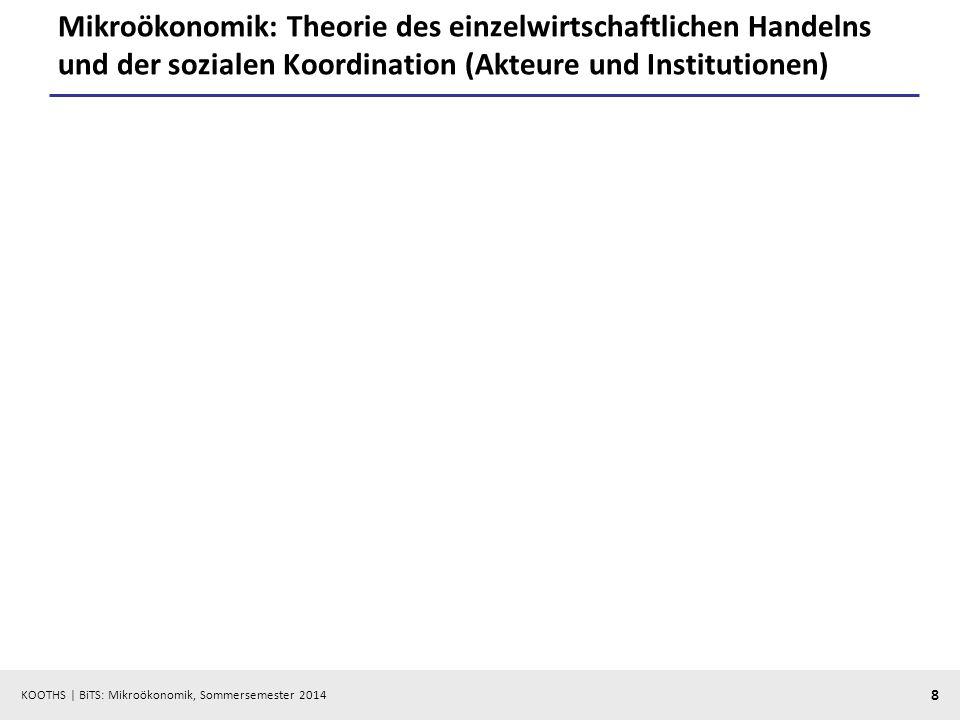 Mikroökonomik: Theorie des einzelwirtschaftlichen Handelns und der sozialen Koordination (Akteure und Institutionen)