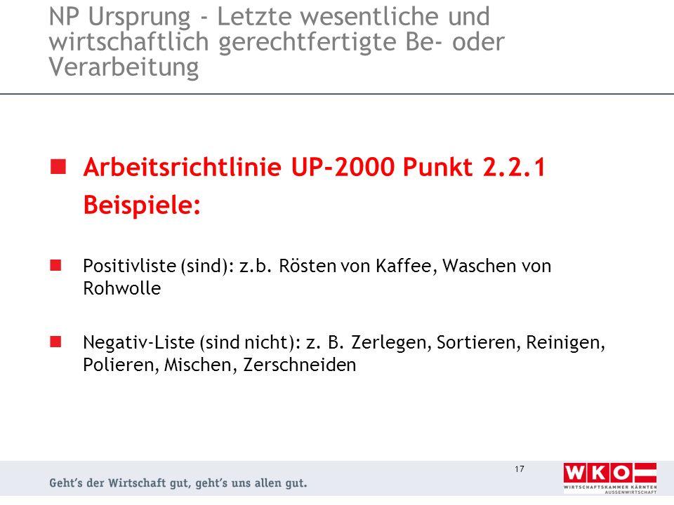Arbeitsrichtlinie UP-2000 Punkt 2.2.1 Beispiele: