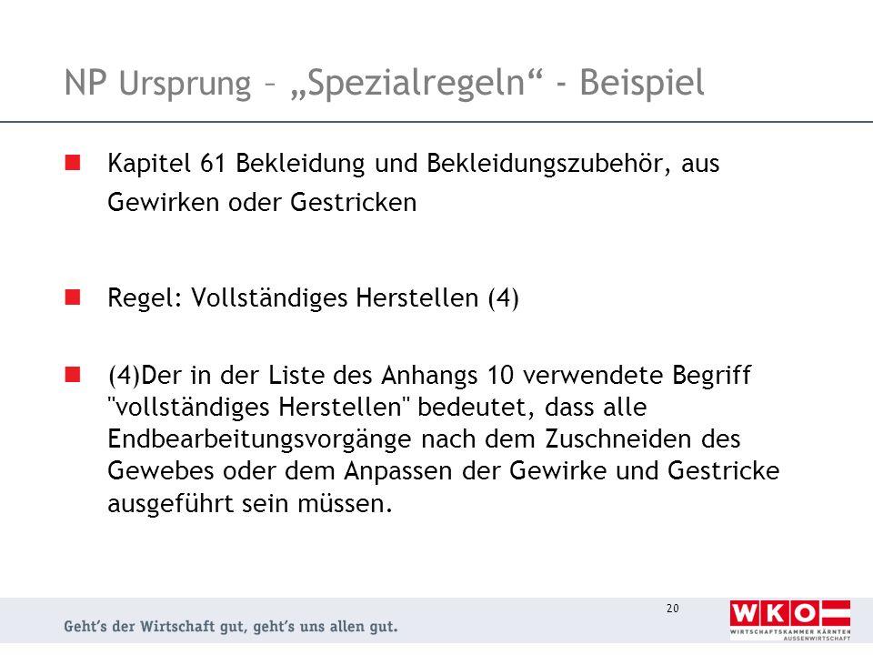 """NP Ursprung – """"Spezialregeln - Beispiel"""