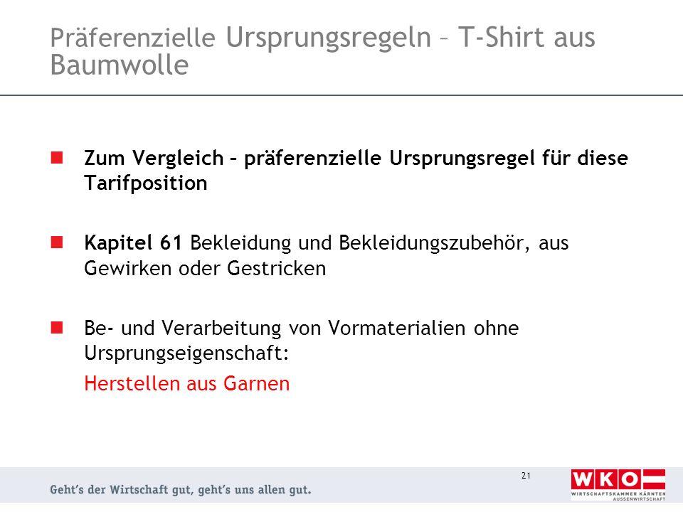 Präferenzielle Ursprungsregeln – T-Shirt aus Baumwolle