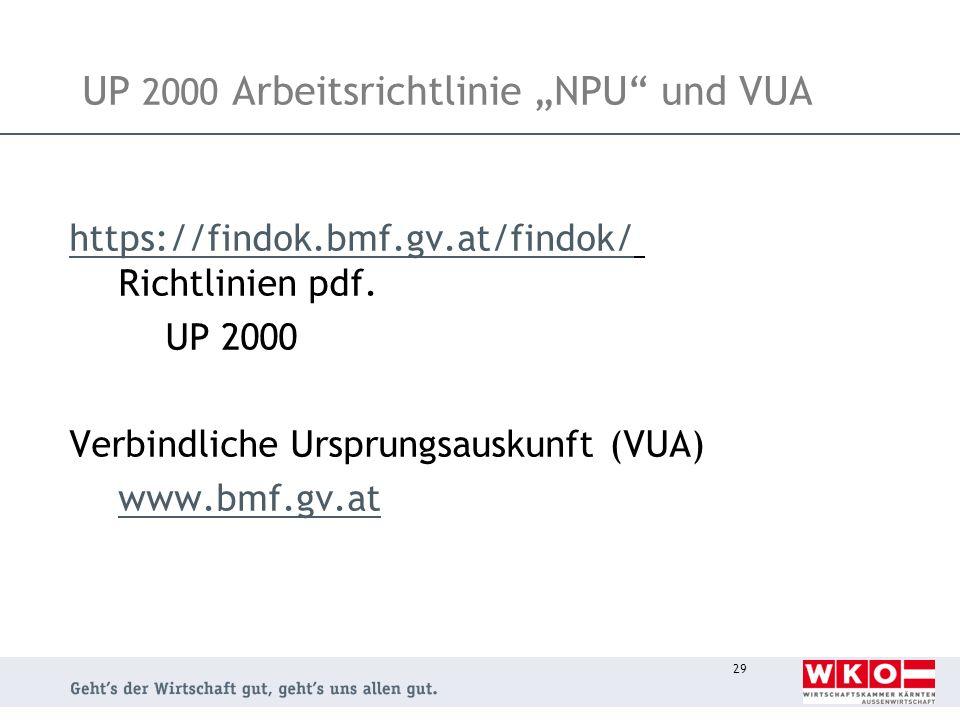 """UP 2000 Arbeitsrichtlinie """"NPU und VUA"""