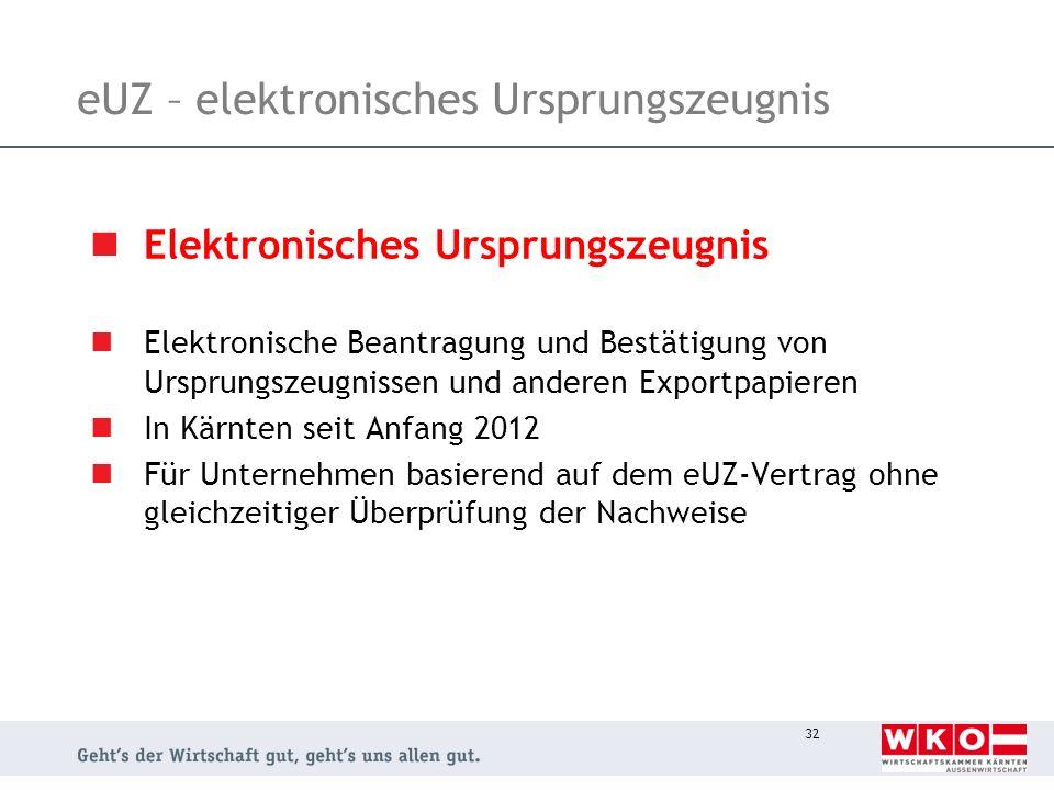 eUZ – elektronisches Ursprungszeugnis