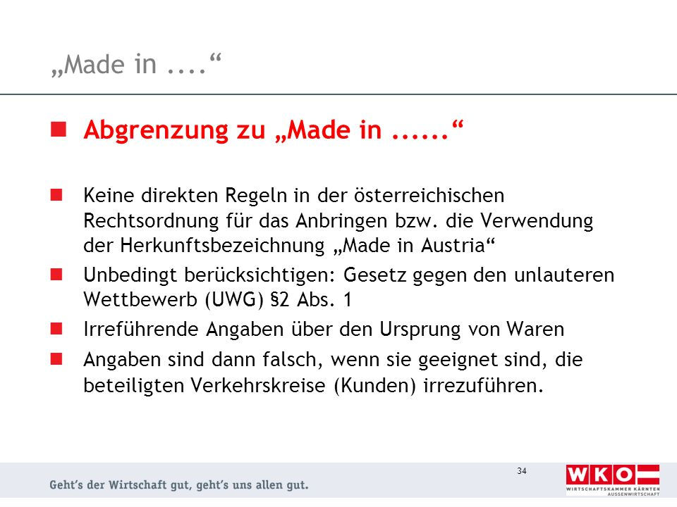 """Made in .... Abgrenzung zu ""Made in ......"
