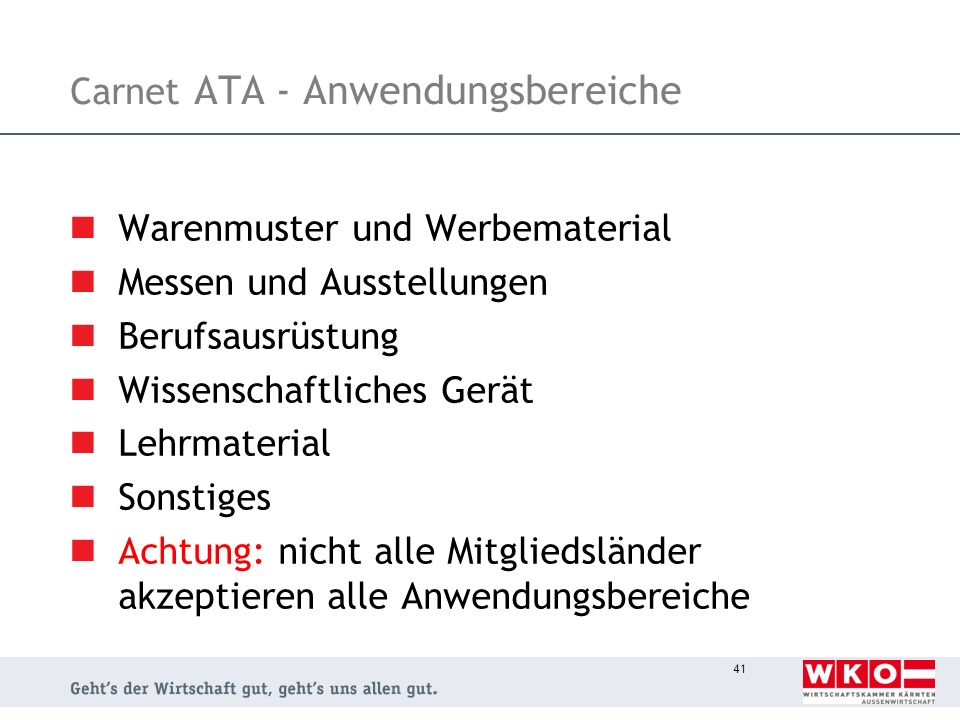 Carnet ATA - Anwendungsbereiche