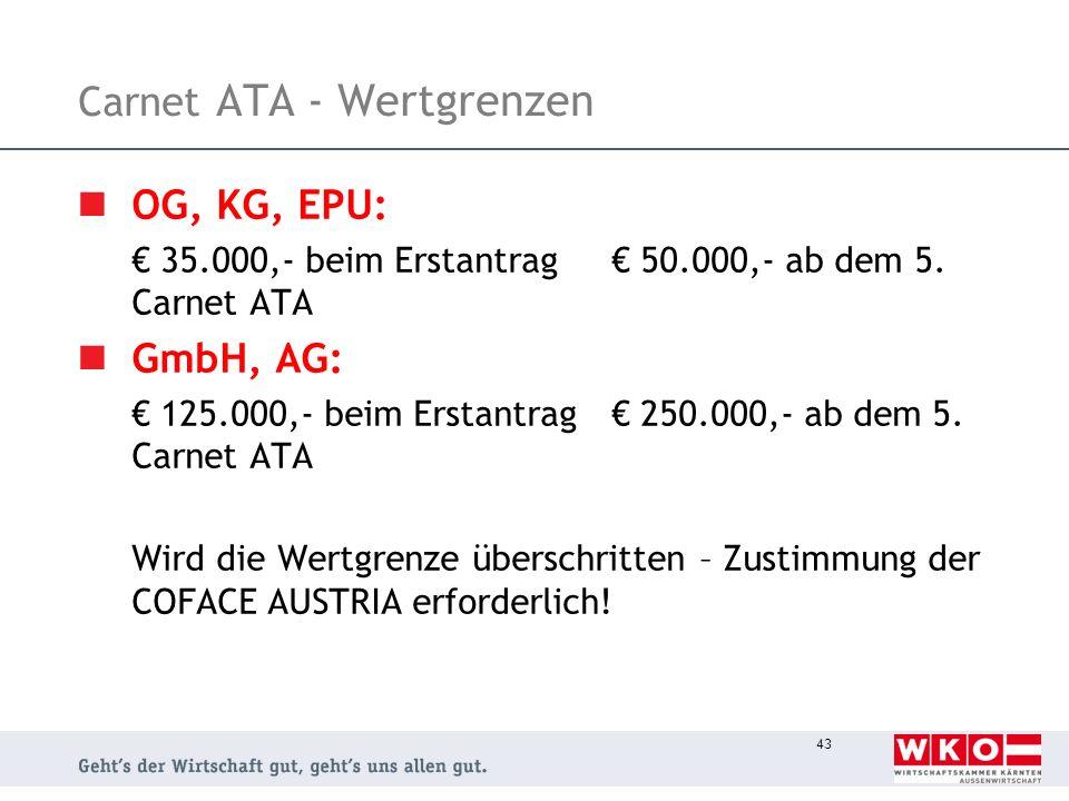 Carnet ATA - Wertgrenzen