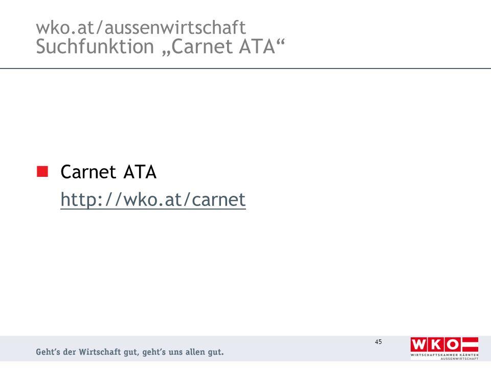 """wko.at/aussenwirtschaft Suchfunktion """"Carnet ATA"""