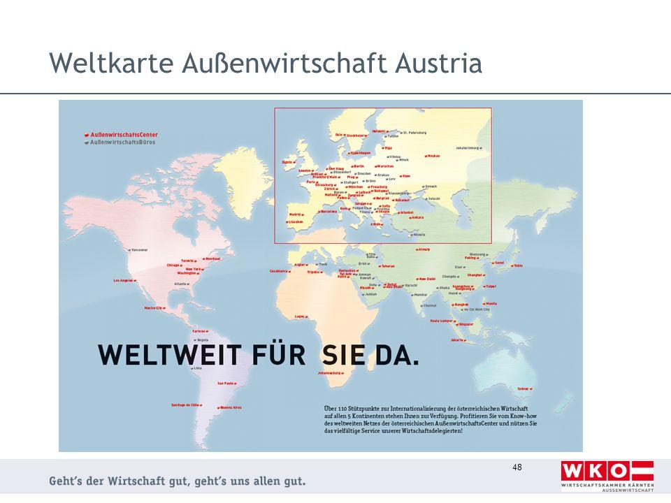 Weltkarte Außenwirtschaft Austria