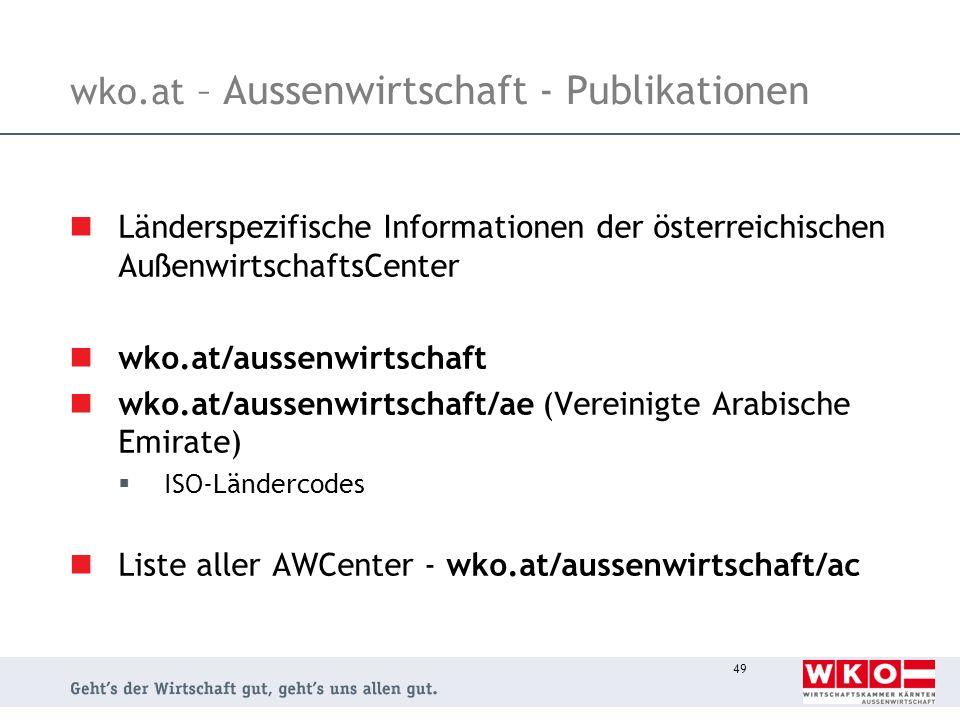 wko.at – Aussenwirtschaft - Publikationen