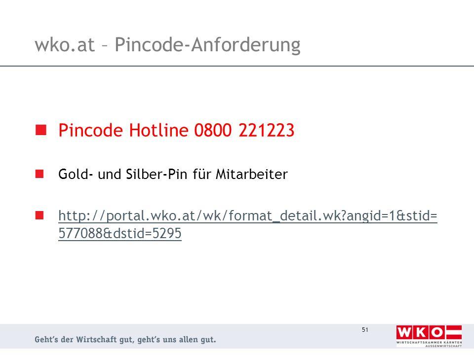 wko.at – Pincode-Anforderung