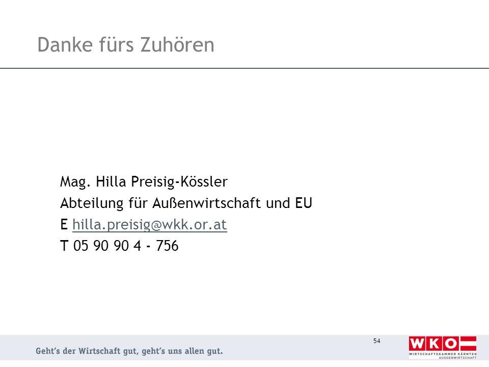 Danke fürs Zuhören Mag. Hilla Preisig-Kössler