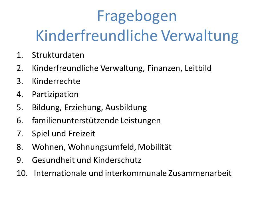 Fragebogen Kinderfreundliche Verwaltung
