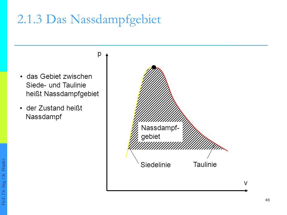2.1.3 Das Nassdampfgebiet p • das Gebiet zwischen Siede- und Taulinie