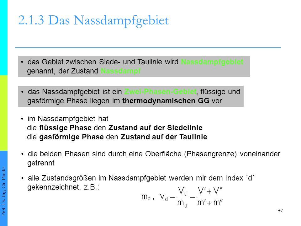 2.1.3 Das Nassdampfgebiet • das Gebiet zwischen Siede- und Taulinie wird Nassdampfgebiet. genannt, der Zustand Nassdampf.