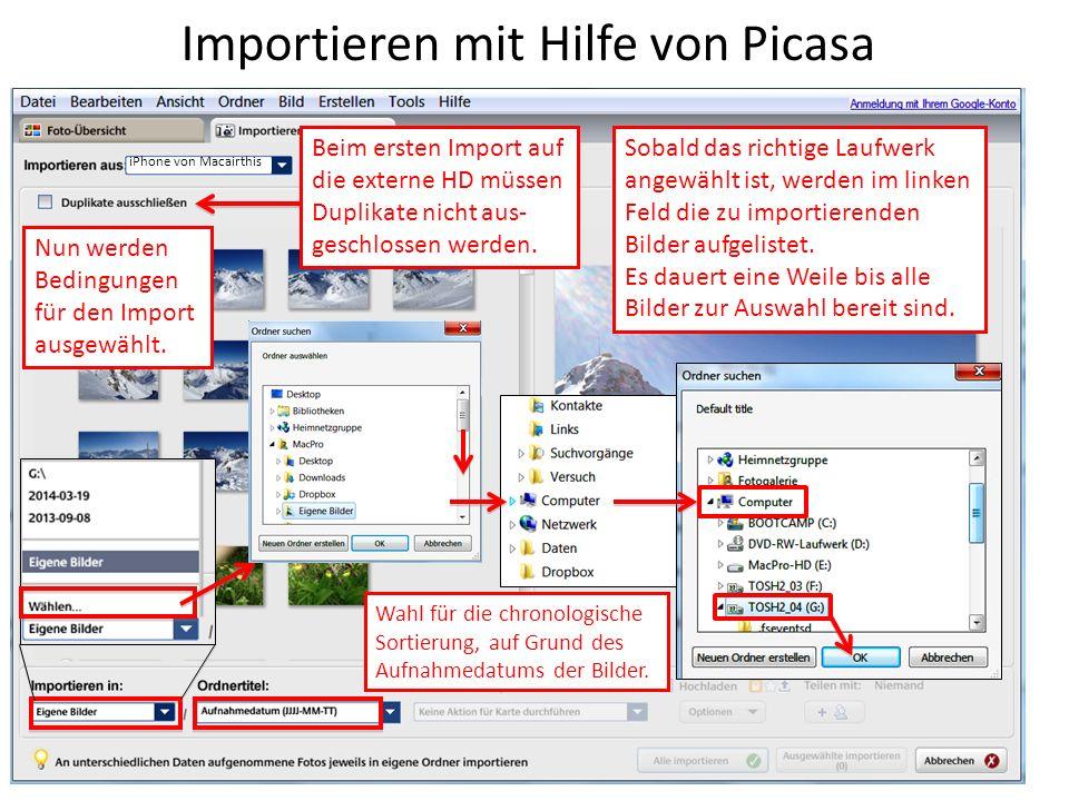 Importieren mit Hilfe von Picasa