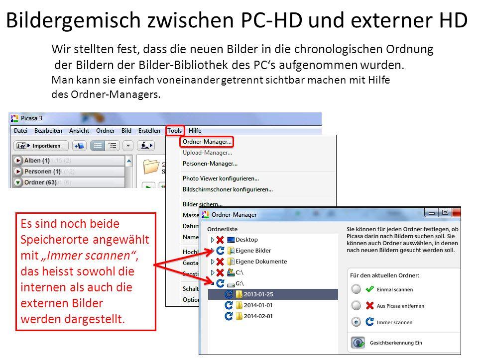 Bildergemisch zwischen PC-HD und externer HD