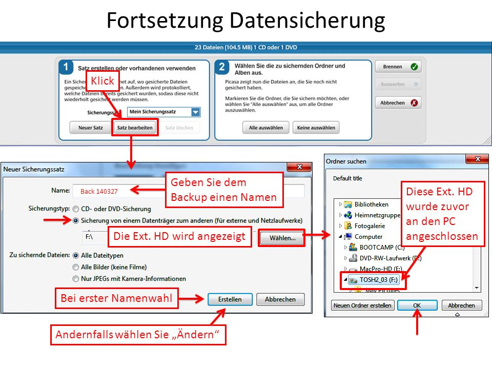 Fortsetzung Datensicherung