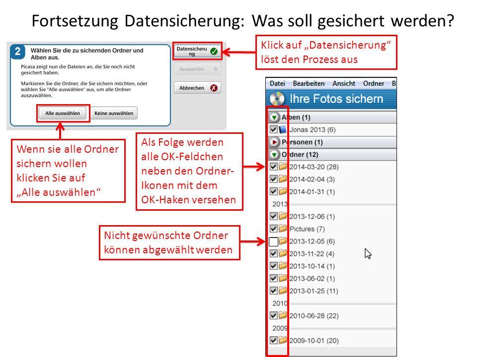 Fortsetzung Datensicherung: Was soll gesichert werden