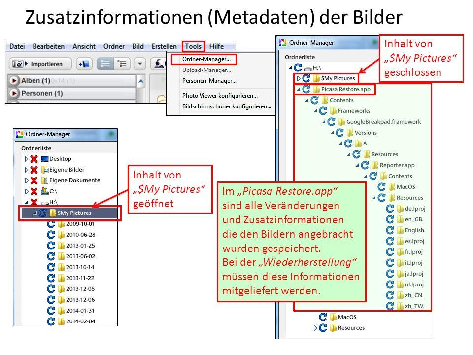 Zusatzinformationen (Metadaten) der Bilder
