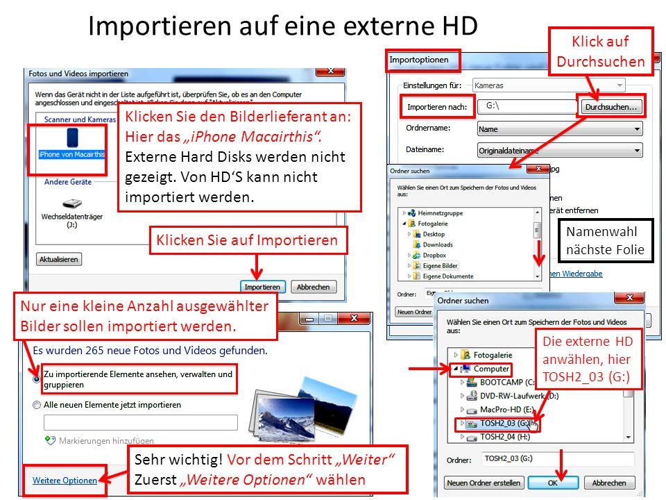 Importieren auf eine externe HD