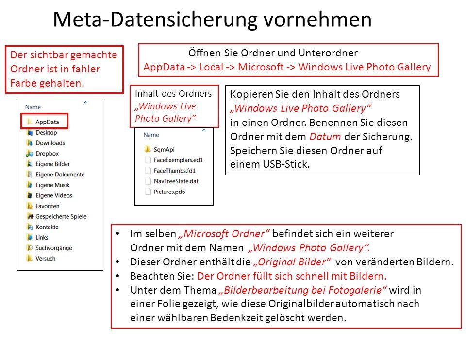 Meta-Datensicherung vornehmen