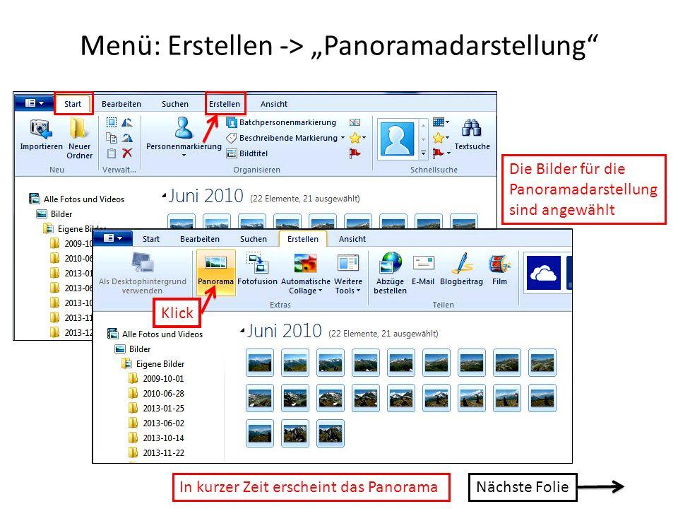 "Menü: Erstellen -> ""Panoramadarstellung"