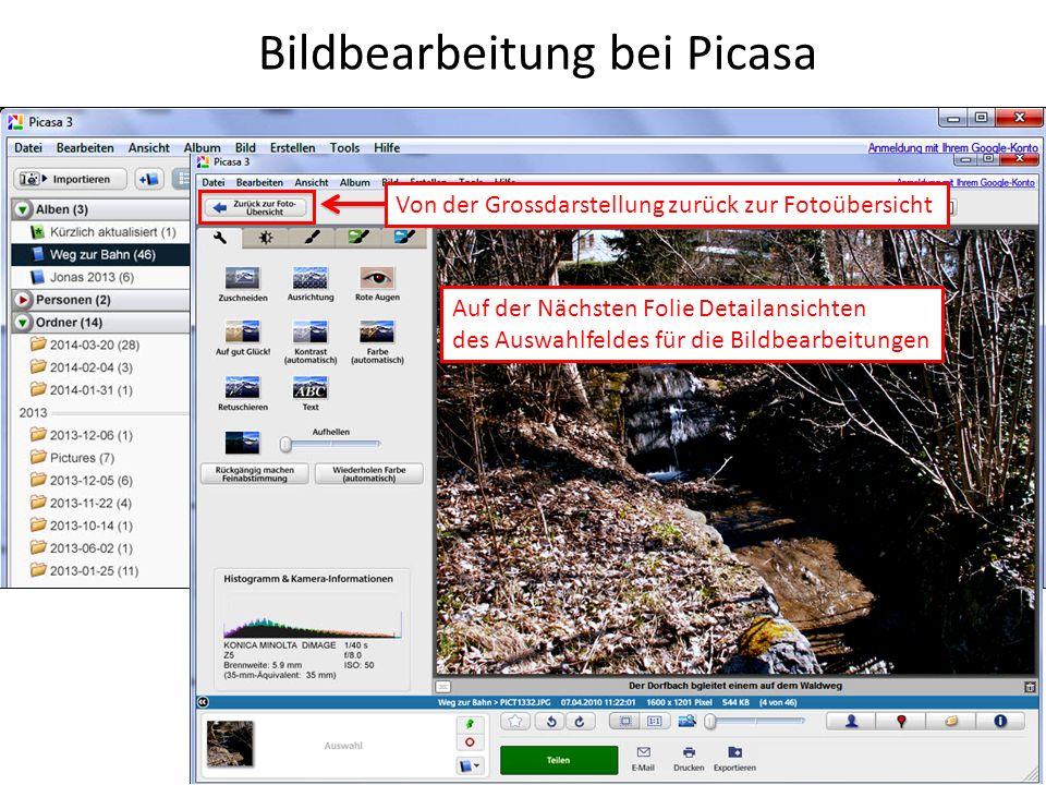 Bildbearbeitung bei Picasa