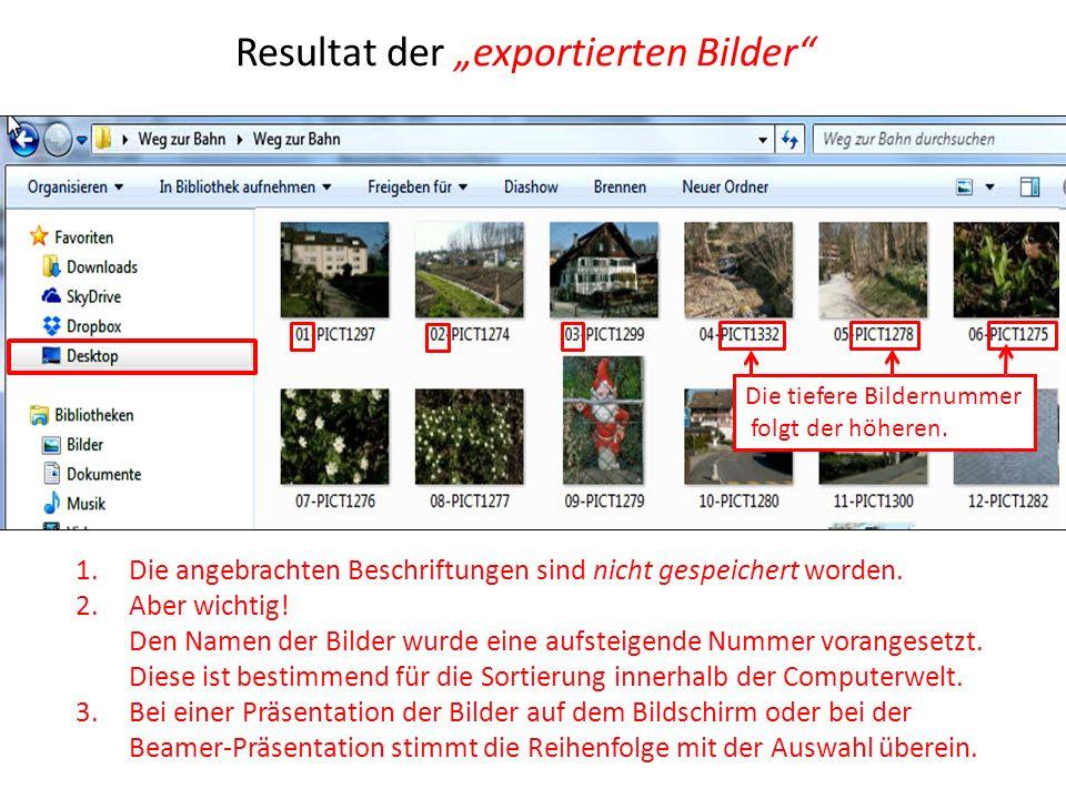 "Resultat der ""exportierten Bilder"