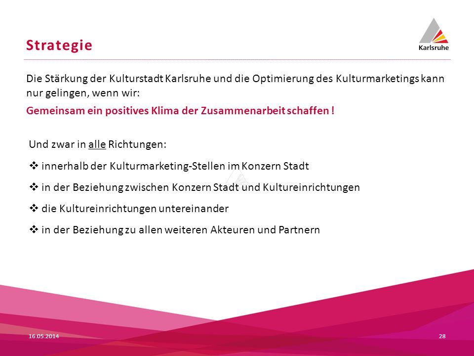 Strategie Die Stärkung der Kulturstadt Karlsruhe und die Optimierung des Kulturmarketings kann nur gelingen, wenn wir: