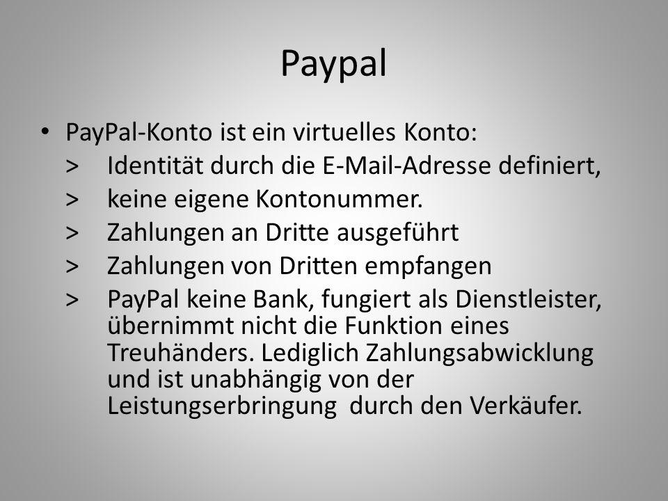 Paypal PayPal-Konto ist ein virtuelles Konto: