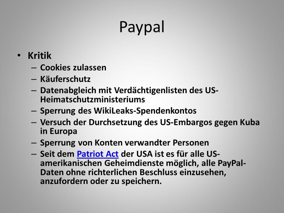 Paypal Kritik Cookies zulassen Käuferschutz