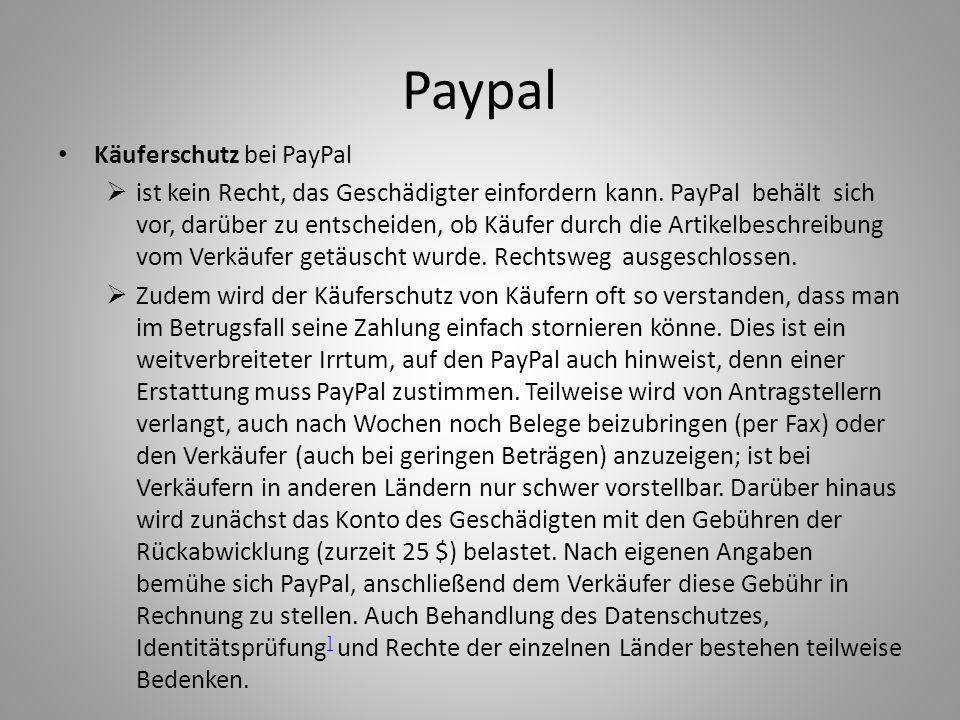 Paypal Käuferschutz bei PayPal