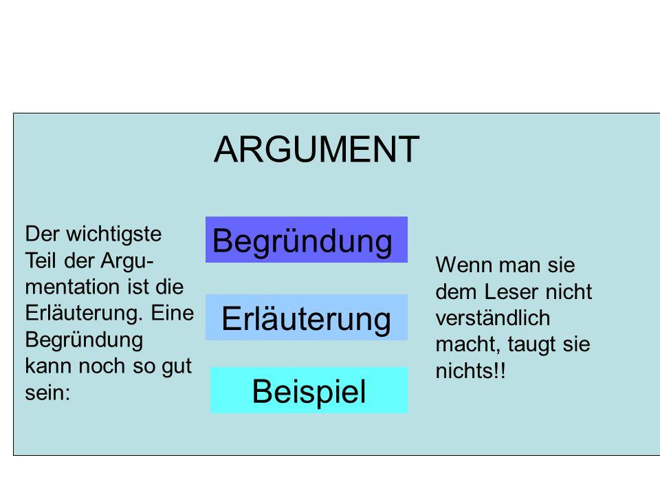 ARGUMENT Begründung Erläuterung Beispiel