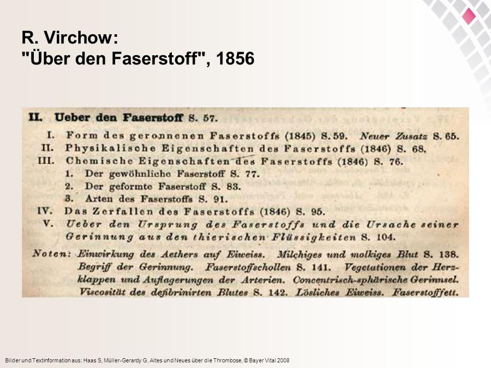 R. Virchow: Über den Faserstoff , 1856